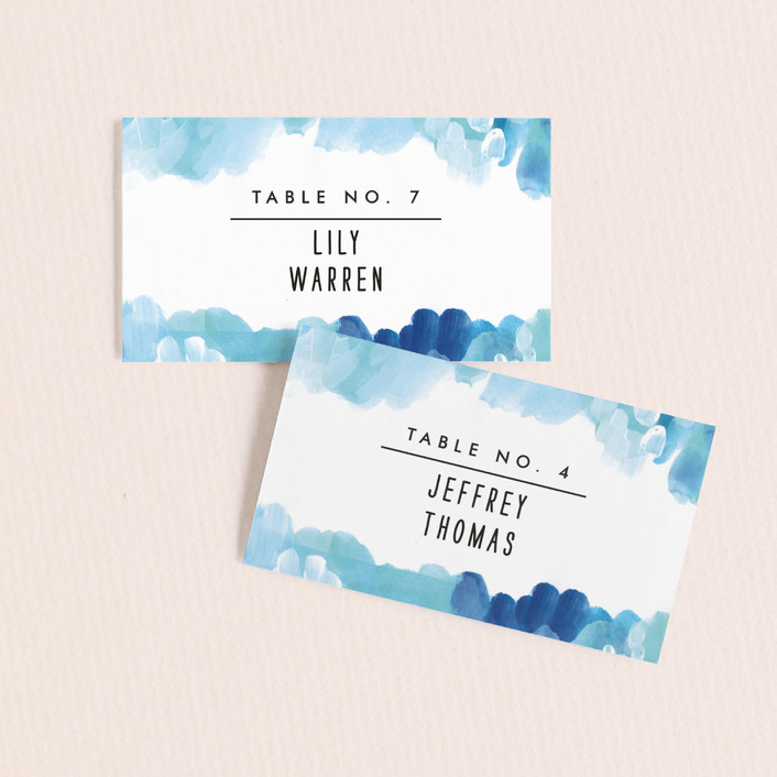 """""""Gallery Abstract Art"""" - Bohemian Wedding Place Cards in Ocean by Alethea and Ruth."""
