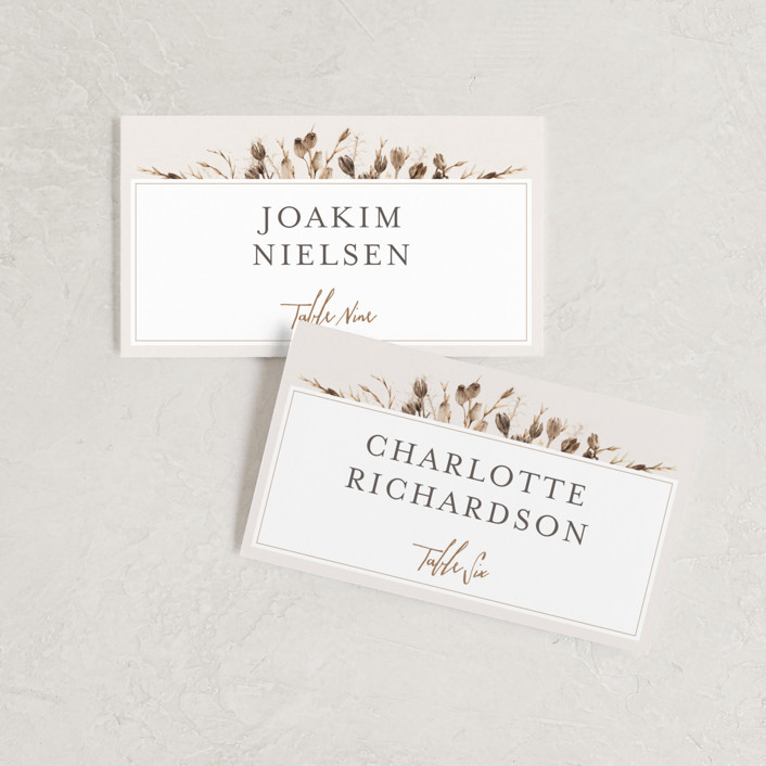 """""""Gone To Seed"""" - Bohemian Wedding Place Cards in Taupe by Honeybunch Studio."""