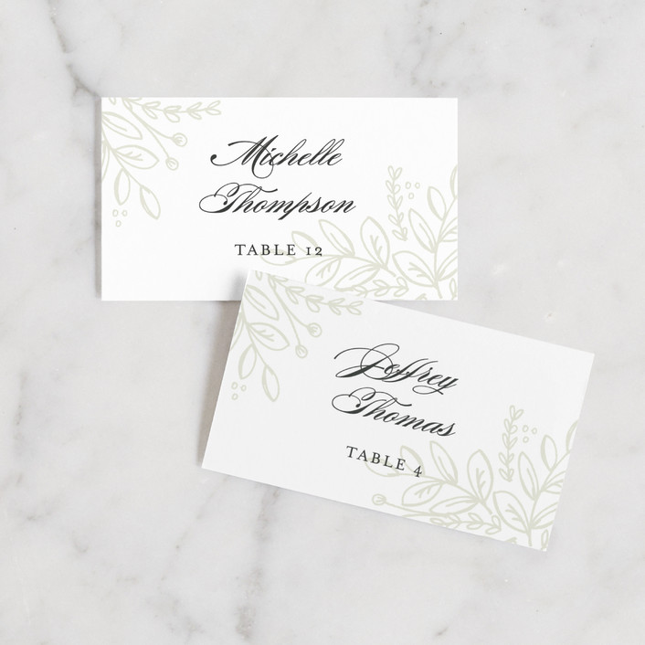 """""""Graceful"""" - Rustic Wedding Place Cards in Taupe by Jessica Williams."""