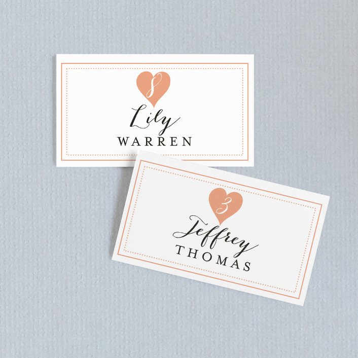 """Heartbeat"" - Whimsical & Funny Wedding Place Cards in Petal by Sarah Curry."