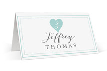 This is a blue wedding place card by Sarah Curry called Heartbeat with standard printing on signature in placecard.