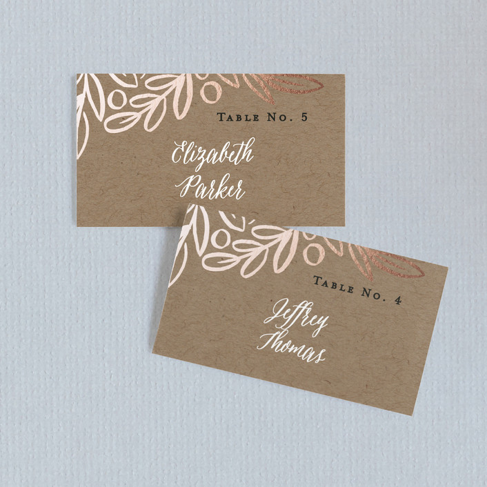 """Hidden Branches"" - Rustic Wedding Place Cards in Kraft by Alethea and Ruth."