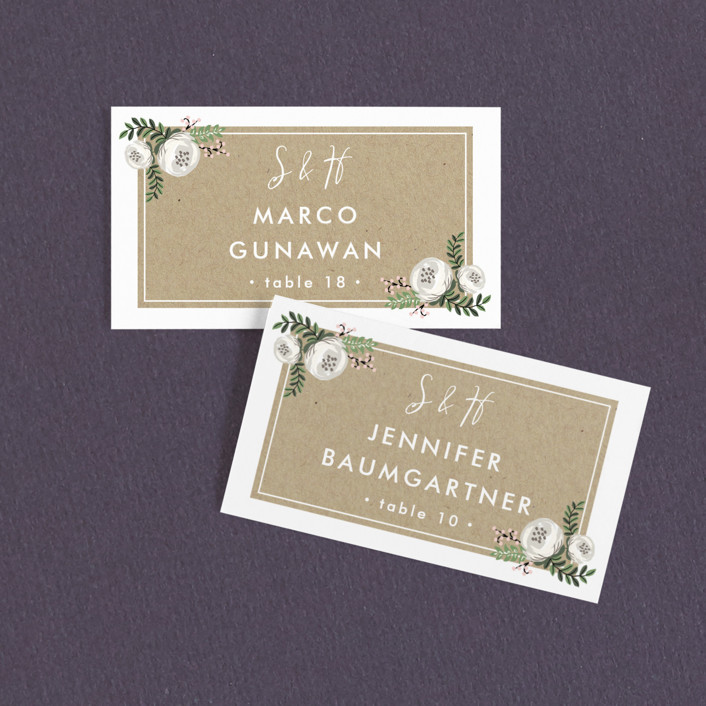 """""""Krafted Florals"""" - Wedding Place Cards in Blush by Lehan Veenker."""