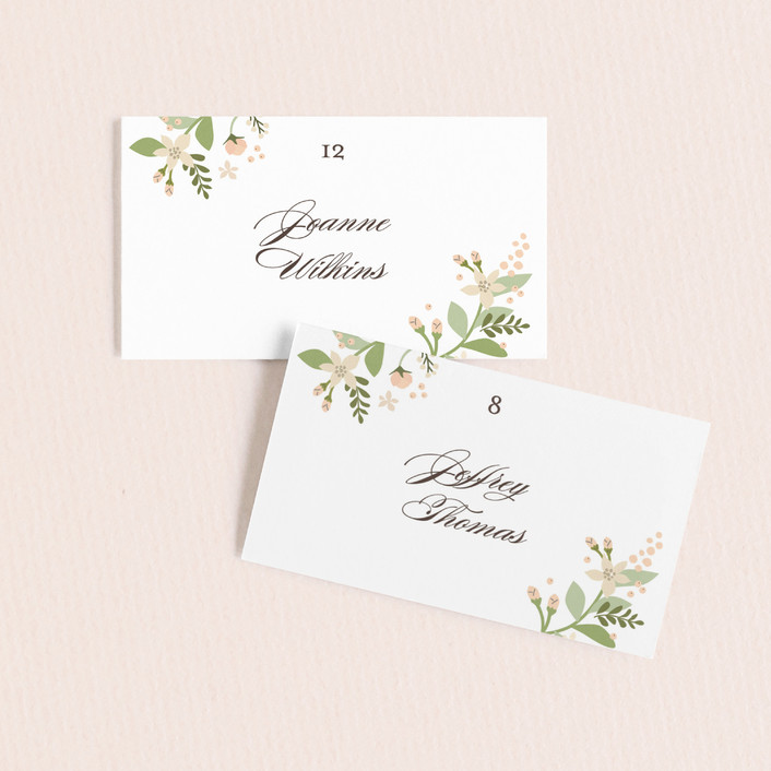 """Longwood Estates"" - Wedding Place Cards in Peach Sorbet by Jennifer Wick."