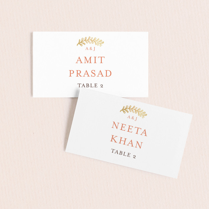 """Modern Mehndi"" - Wedding Place Cards in Gold by Laura Condouris."