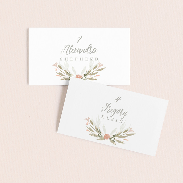 """""""Monogram Floral"""" - Wedding Place Cards in Peach by Lori Wemple."""