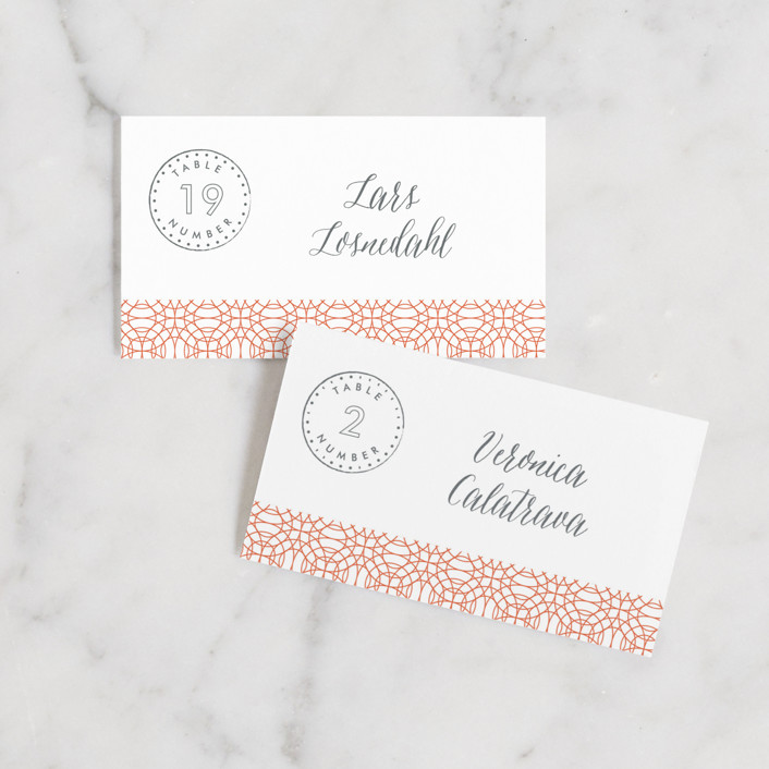 """Passport"" - Wedding Place Cards in Coral by Sarah Curry."