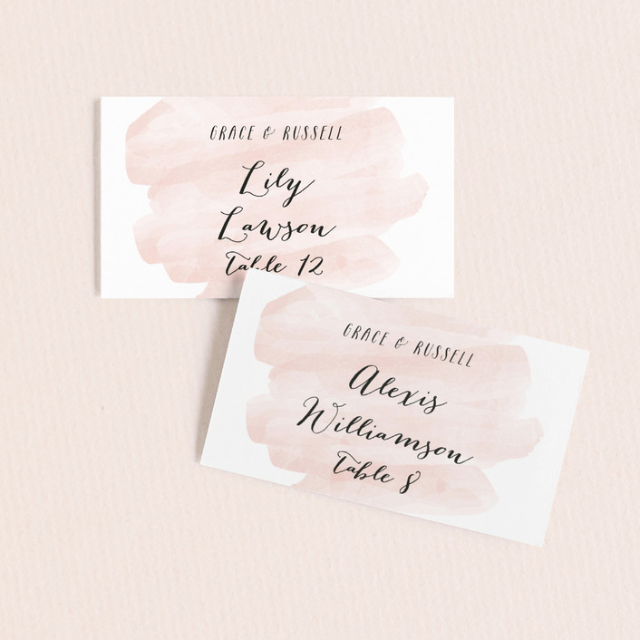 """Pastel Watercolor Wash"" - Wedding Place Cards in Blush by Hooray Creative."