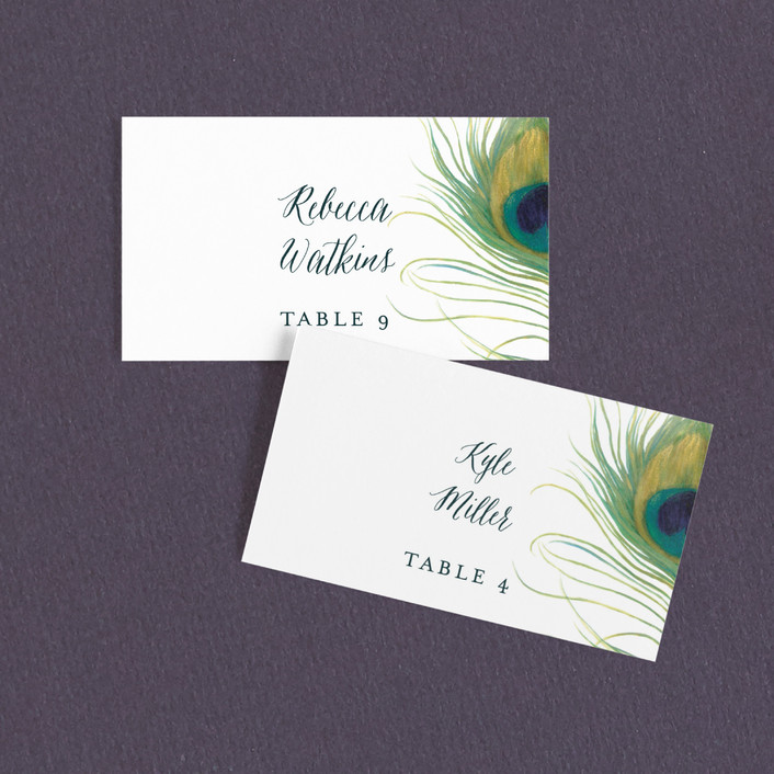 """""""Peacock"""" - Whimsical & Funny, Bohemian Wedding Place Cards in Jade by LChantel."""