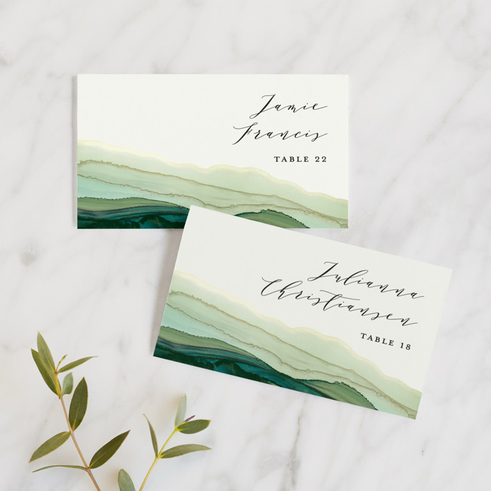 """""""Flow"""" - Bohemian Wedding Place Cards in Emerald by Three Kisses Studio."""