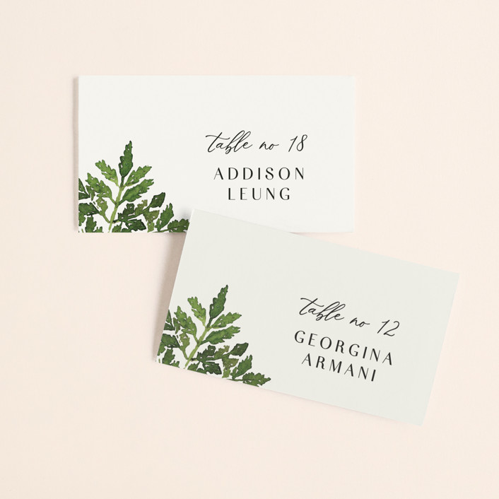 """""""Tropical Vows"""" - Wedding Place Cards in Jade by Chris Griffith."""