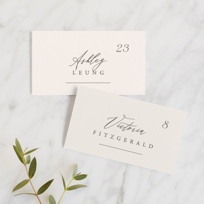"""""""Scarlet"""" - Wedding Place Cards in Blush by Hooray Creative."""