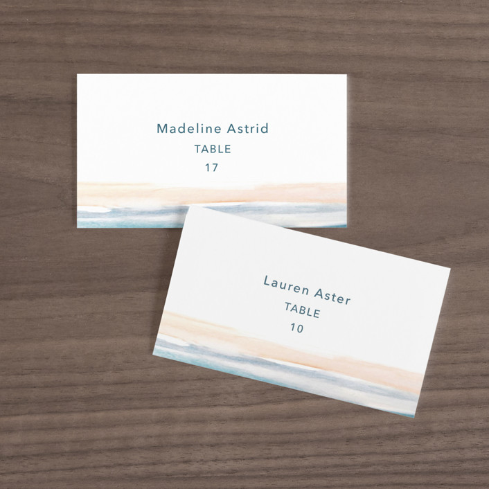 """""""Sea and Sand"""" - Wedding Place Cards in Cortez by Jenny Partrite."""