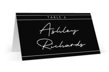 This is a black wedding place card by GeekInk Design called Vesperum with standard printing on signature in placecard.