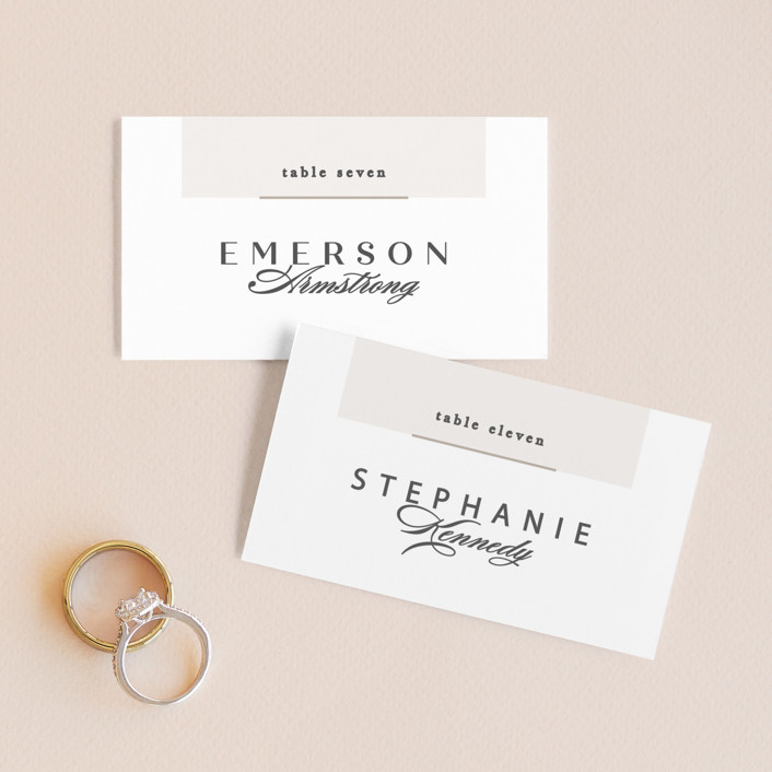 """Photographed"" - Wedding Place Cards in Ecru by Creo Study."