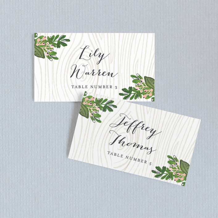 """Rustic Wooded Romance"" - Rustic Wedding Place Cards in Bluebell by Pistols."