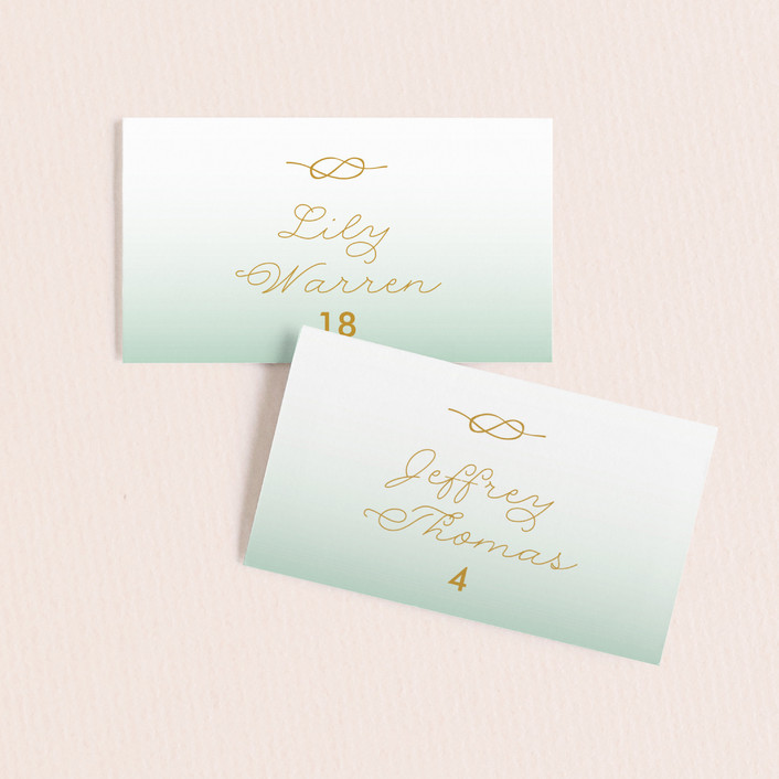 """Simple Knot"" - Wedding Place Cards in Mint by SimpleTe Design."
