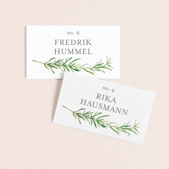 """Simple Sprigs"" - Rustic Wedding Place Cards in Fern by Erin Deegan."