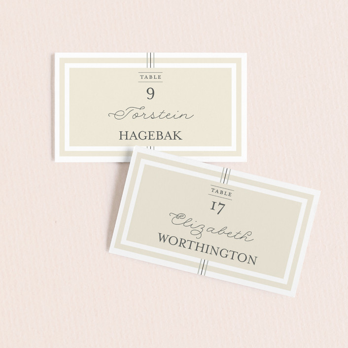 """Three Classic Lines"" - Modern, Preppy Wedding Place Cards in Barley by fatfatin."