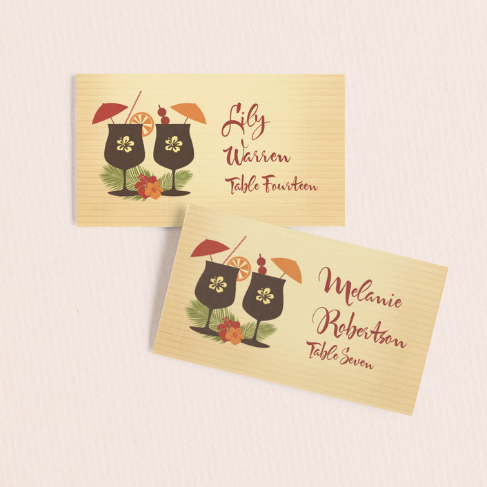 """Tiki Luau"" - Whimsical & Funny Wedding Place Cards in Cherry by BeachPaperCo."