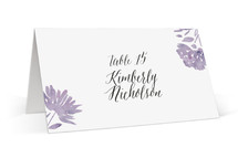 This is a purple wedding place card by Petra Kern called Watercolor Delight with standard printing on signature in placecard.