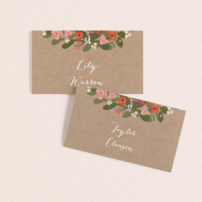 """Waverly Florals"" - Wedding Place Cards in Kraft by Jennifer Wick."