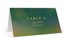 This is a green wedding place card by Simona Camp called Forest Love with standard printing on signature in placecard.