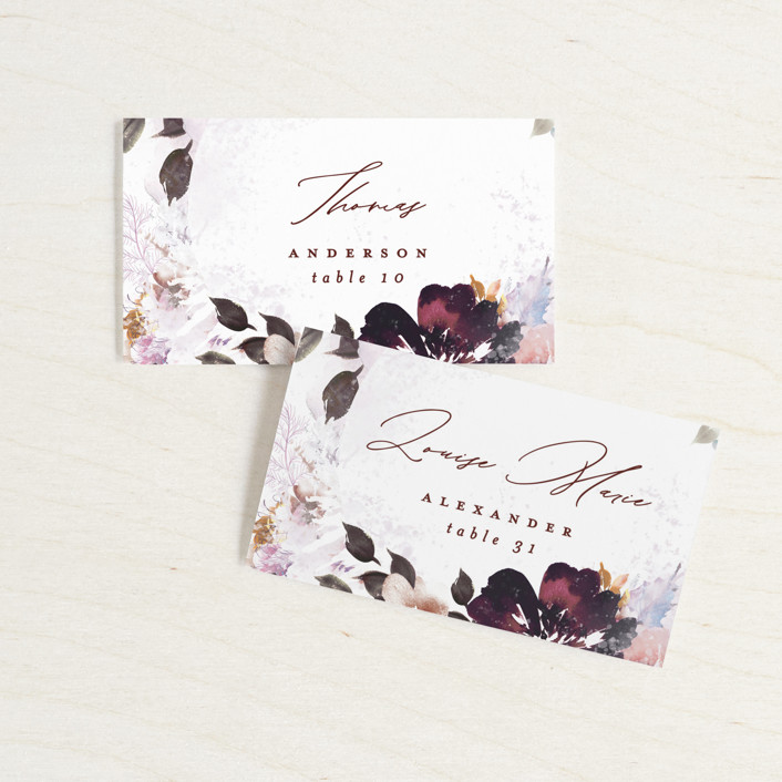 """""""Lush Bouquet"""" - Wedding Place Cards in Autumn by Phrosne Ras."""