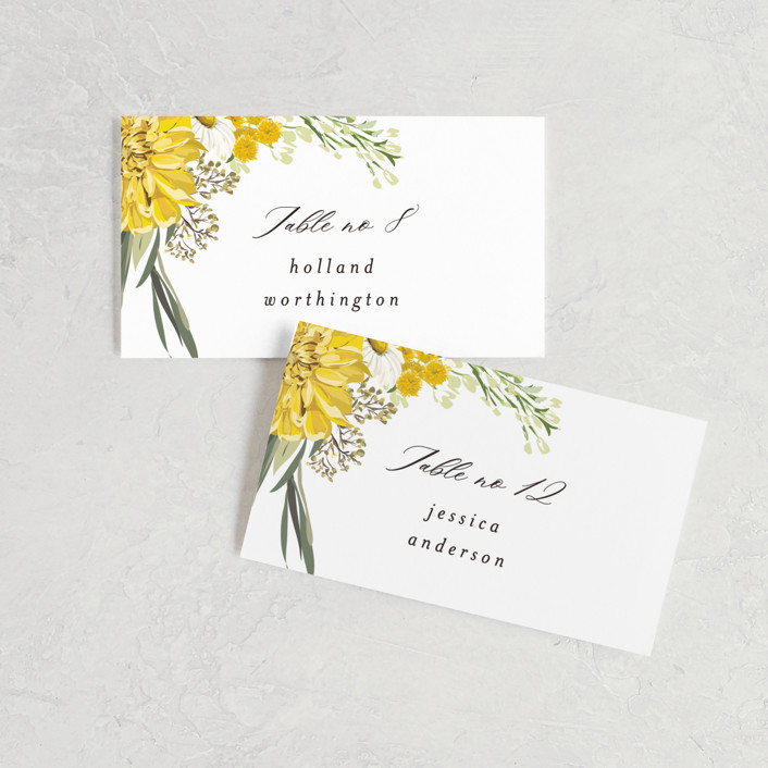 """""""Organic Florals"""" - Wedding Place Cards in Honey by Susan Moyal."""