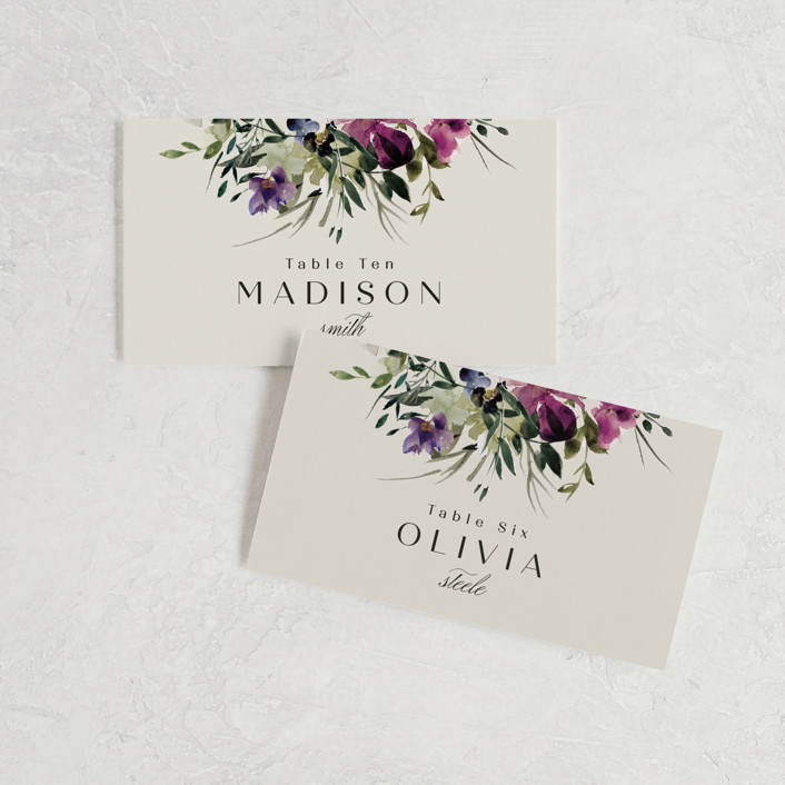 """""""Floral Love"""" - Wedding Place Cards in Lilac by Lori Wemple."""