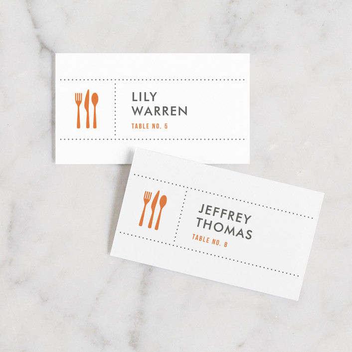 """""""Celebrate the Day"""" - Wedding Place Cards in Persimmon by Michelle Taylor."""