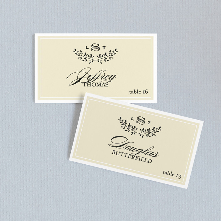 """Aspen Ridge"" - Modern Wedding Place Cards in Cream by Eric Clegg."