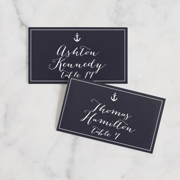 """""""Anchor Tattoo Love"""" - Wedding Place Cards in Navy by Kim Mesman."""
