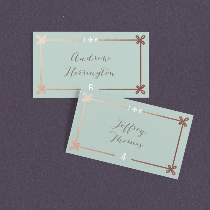 """""""Double Knotted Happiness"""" - Modern Wedding Place Cards in Dusk by Ling Wang."""