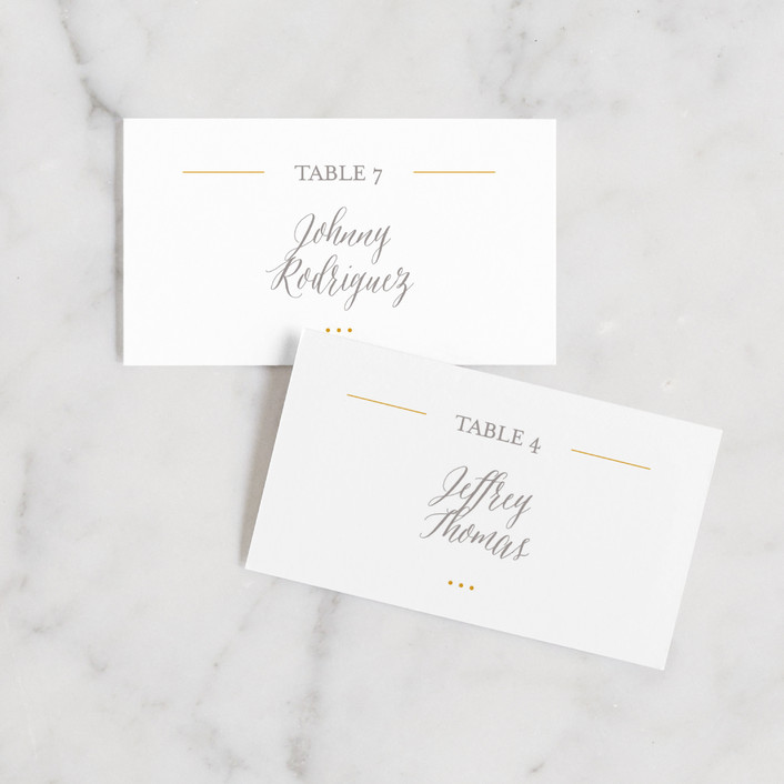 """""""Baseline"""" - Wedding Place Cards in Silver by Design Lotus."""