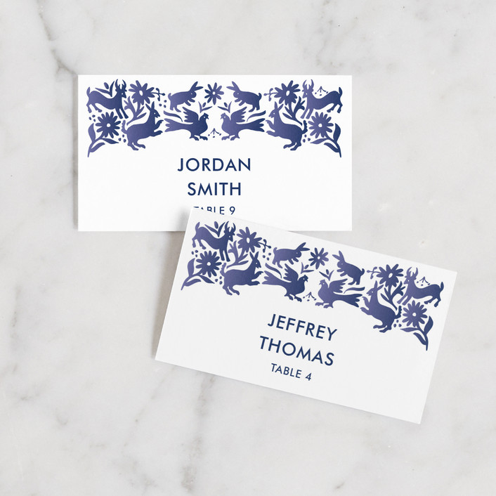 """""""Otomi"""" - Wedding Place Cards in Denim by Paper Monkey Press."""