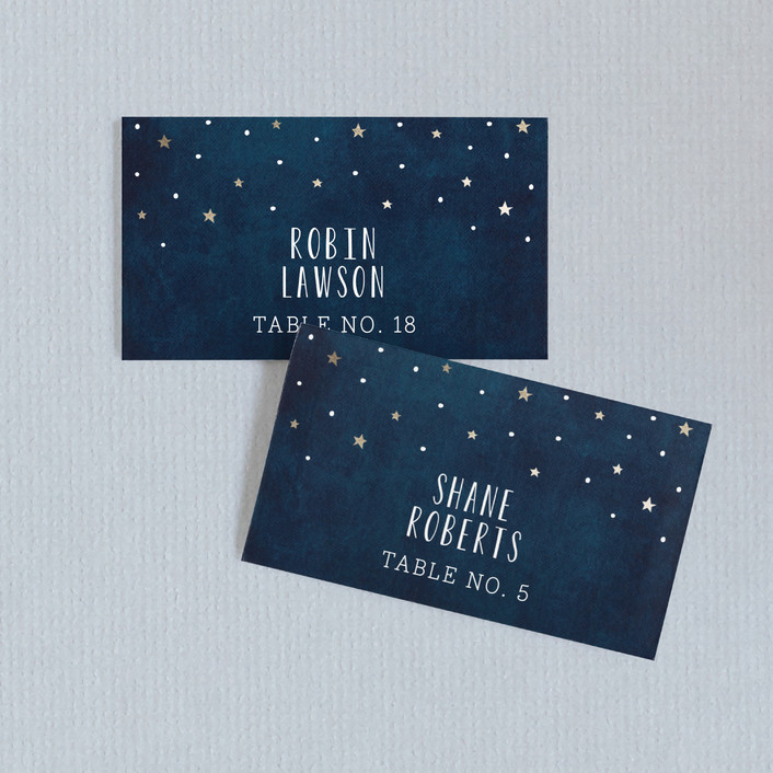 """""""Love you to the Moon and Back"""" - Whimsical & Funny Wedding Place Cards in Night Sky by Chasity Smith."""