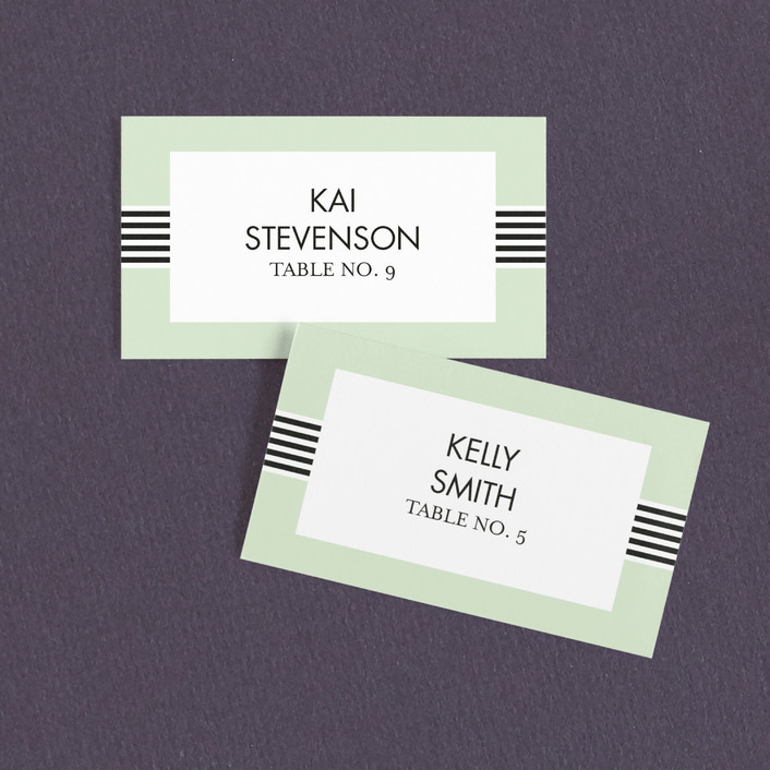 """Striped Bow"" - Preppy, Whimsical & Funny Wedding Place Cards in Pear by Sam Dubeau."