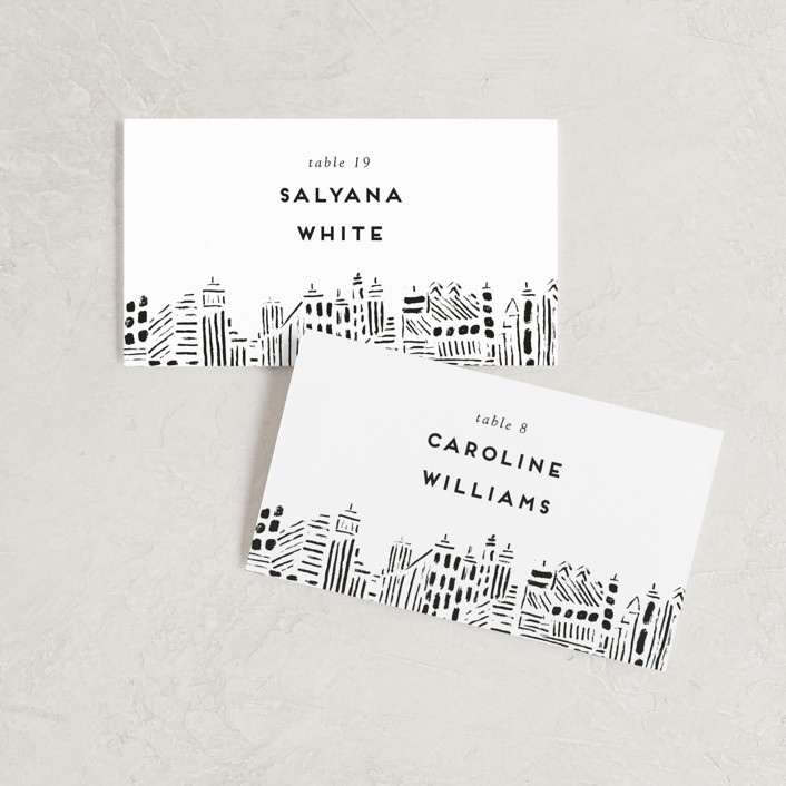 """Love In The City"" - Wedding Place Cards in Pearl by Shiny Penny Studio."