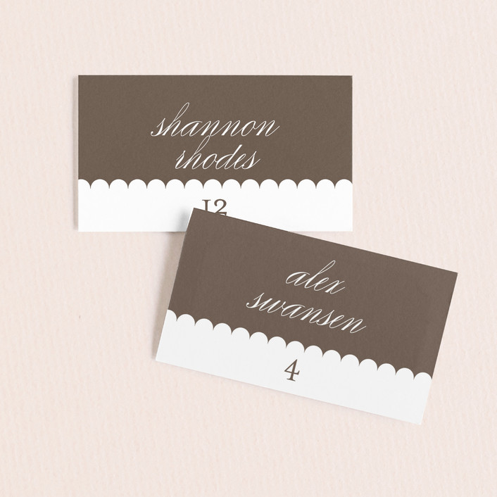"""Sweet Scallop"" - Modern Wedding Place Cards in Taupe by annie clark."