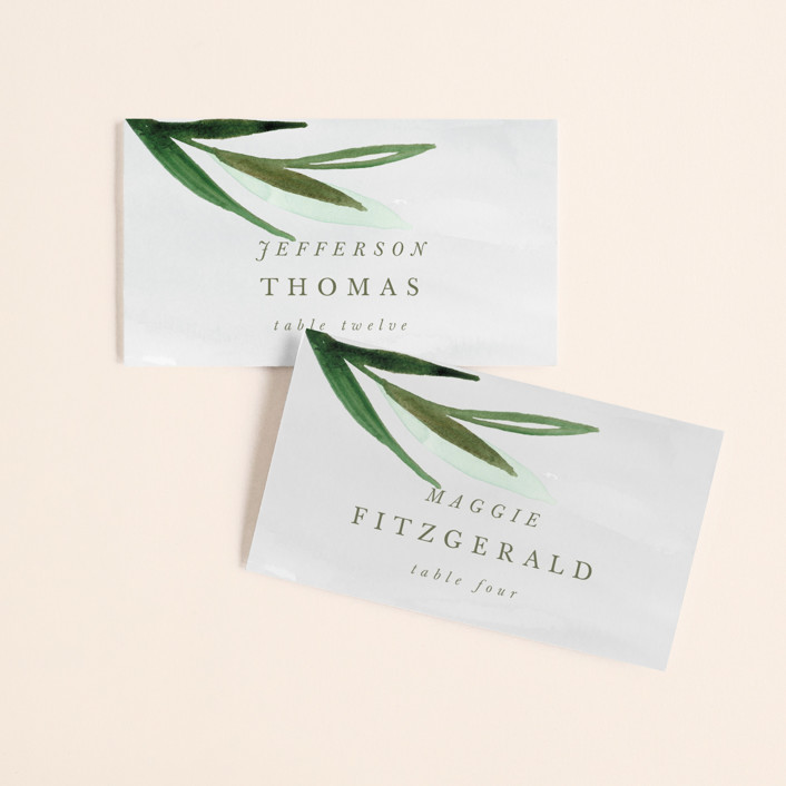 """""""Botanical Frame"""" - Wedding Place Cards in Fern by Kate Ahn."""