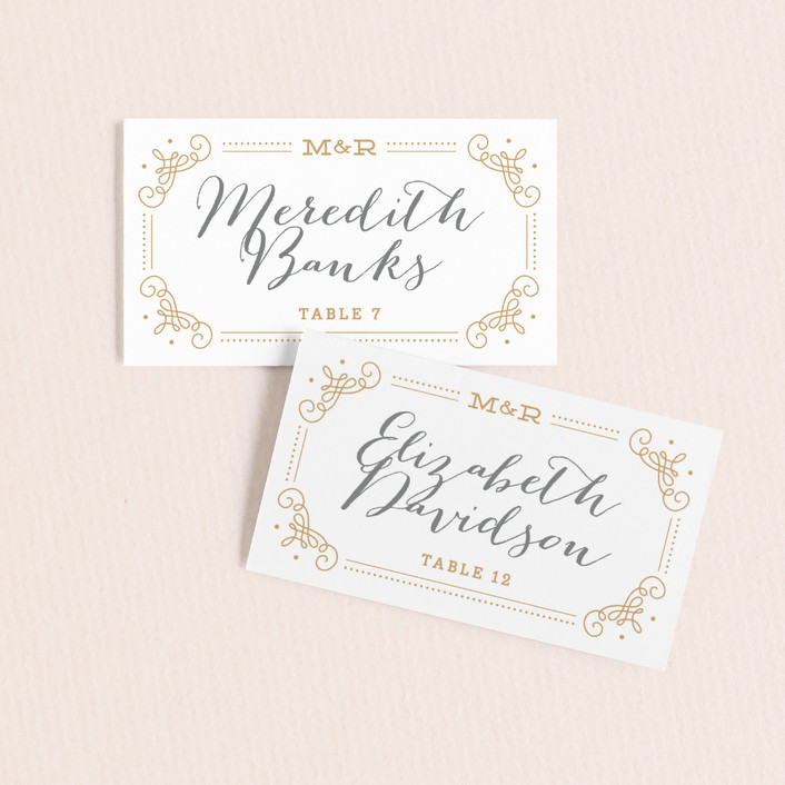 """Ornate Monogram"" - Preppy Wedding Place Cards in Faux Gold by Kristen Smith."