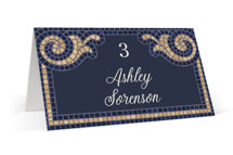 This is a blue wedding place card by GeekInk Design called Mosaic with standard printing on signature in placecard.
