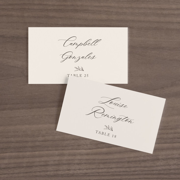 """""""Leafy Branch"""" - Wedding Place Cards in Latte by Katherine Moynagh."""