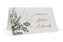 This is a grey wedding place card by Chris Griffith called Wedding Whisper with standard printing on signature in placecard.