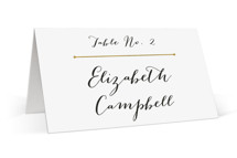 This is a gold wedding place card by Snow and Ivy called Dapper Amper with standard printing on signature in placecard.