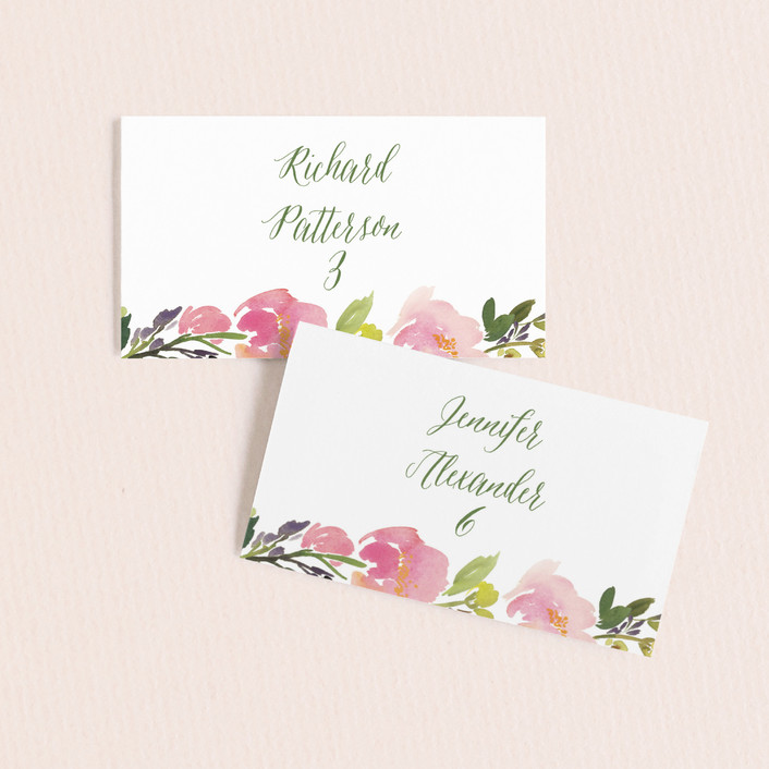 """""""Watercolor Floral"""" - Wedding Place Cards in Olive by Yao Cheng Design."""