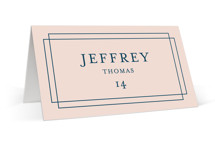 This is a pink wedding place card by Kimberly FitzSimons called Chic Gala with standard printing on signature in placecard.