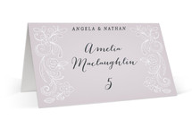 This is a purple wedding place card by Hooray Creative called Elegant Lace with standard printing on signature in placecard.