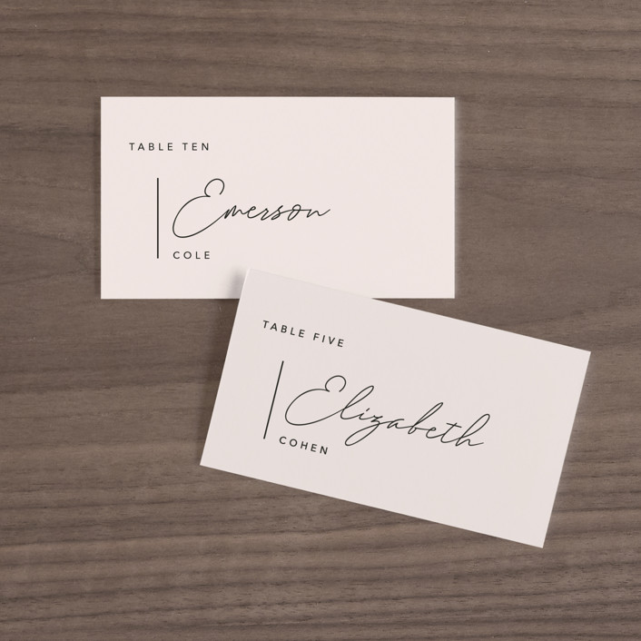 """""""Aesthetic"""" - Modern Wedding Place Cards in Blush by Liz Conley."""